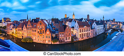 Quay Graslei in the morning, Ghent town, Belgium