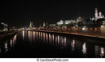 Quay near the Moscow Kremlin at night. Real time shot.