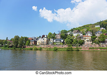 Quay of Neckar river in summer sunshine