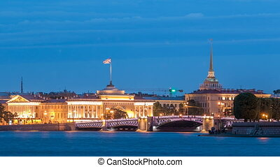 Quay of river Neva with building of Admiralty and Palace bridge timelapse at wthite night. St. Petersburg, Russia