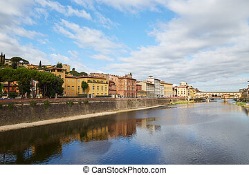 Arno River and Ponte Vecchio Bridge in Florence