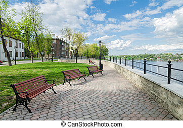 Quay of the River Narva spring sunny day - Quay of the River...