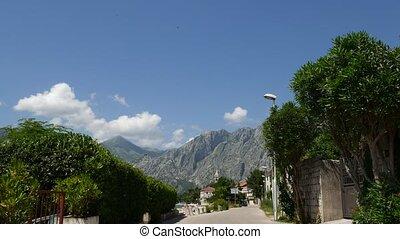 Quay street in the city of Dobrota in Kotor Bay, Montenegro...