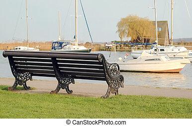 quayside - tranquil scene of Christchurch marina in Dorset, ...
