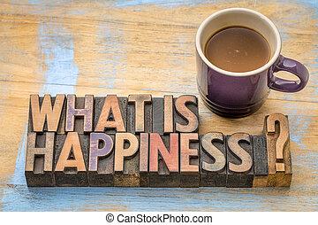 que, é, felicidade, pergunta, em, madeira, tipo