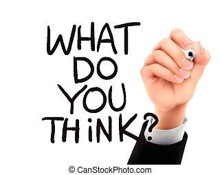 que, mão escrita, tu, pensar, 3d