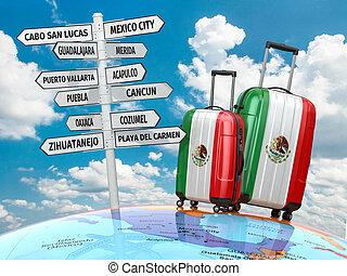 que, malas, signpost, viagem, visita, concept., mexico.