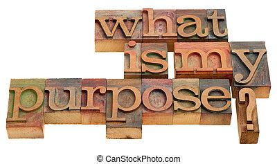 que, meu, propósito