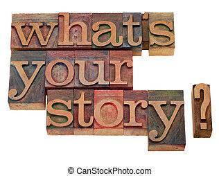 que, pergunta, história, seu