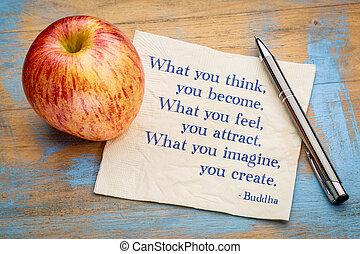 que, tu, pensar, sentir, imaginar, ..., buddha, citação