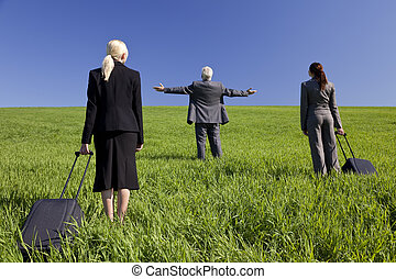 que, viajantes, negócio, olhar, eles, achar