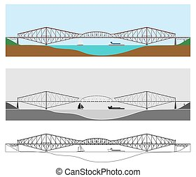 Quebec bridge colored and outline only.