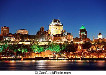 Quebec City at night - Quebec City skyline at dusk over ...