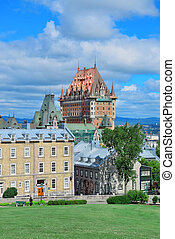 Quebec City cityscape panorama with cloud, blue sky and ...