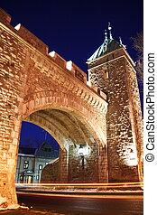Quebec City landmark: Fortress night scene. Long exposure.