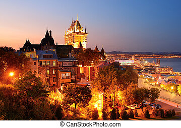 Quebec City skyline with Chateau Frontenac at dusk viewed ...