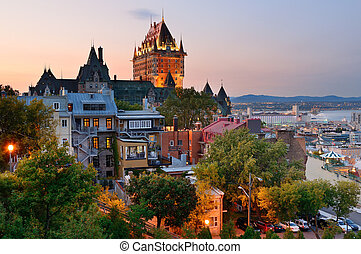 Quebec City skyline with Chateau Frontenac at sunset viewed ...