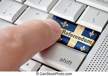 quebec, en línea, votación, referendum, concepto, en, metálico, teclado