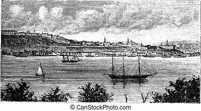 Quebec, for taking the tip Levi, vintage engraved illustration. Quebec seen from Levis during late 1800s. Trousset encyclopedia (1886 - 1891).