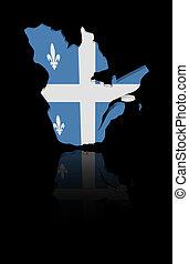Quebec map flag with reflection illustration