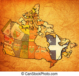 quebec on administration map of canada with flags