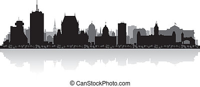 quebec, orizzonte, vettore, città, canada, silhouette