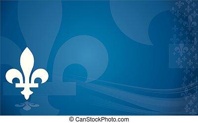 Quebec province of Canada emblem over blue background -...