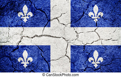 Quebec, province of Canada, flag on dry earth ground texture...