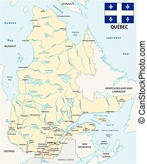 Quebec road vector map with flag