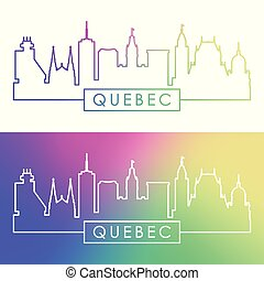 Quebec skyline. Colorful linear style.