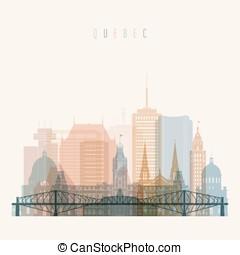 Quebec skyline detailed silhouette.