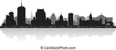 quebec, skyline, vetorial, cidade, canadá, silueta
