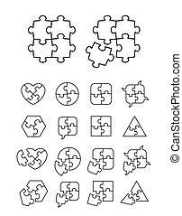 quebra-cabeça, ícones, jogo, -, completo, e, incompleto
