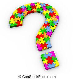 quebra-cabeça, 3d, marca pergunta