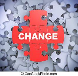 quebra-cabeça, 3d, -, mudança, pedaços