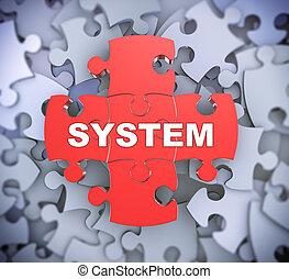 quebra-cabeça, 3d, -, sistema, pedaços