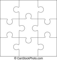 quebra-cabeça, 3x3, modelo, em branco