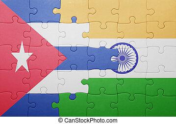 quebra-cabeça, bandeira índia, nacional, cuba