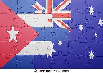 quebra-cabeça, bandeira austrália, nacional, cuba