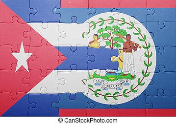 quebra-cabeça, bandeira belize, nacional, cuba