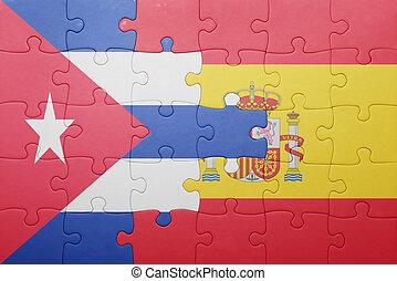 quebra-cabeça, bandeira espanha, nacional, cuba