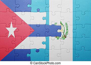 quebra-cabeça, bandeira, guatemala, nacional, cuba