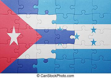 quebra-cabeça, bandeira honduras, nacional, cuba
