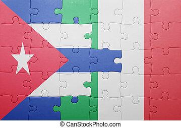 quebra-cabeça, bandeira itália, nacional, cuba