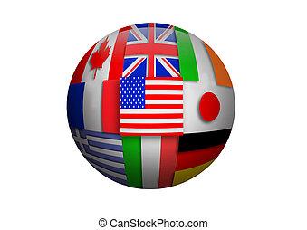 quebra-cabeça, bola, bandeiras