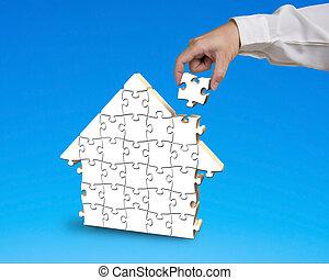 quebra-cabeça, casa, pôr, forma