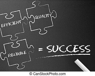 quebra-cabeça, -, chalkboard, sucesso