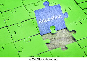 quebra-cabeça, com, palavra, educação