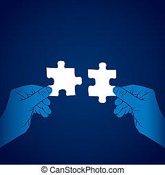 quebra-cabeça, conceito, juntar, pedaço