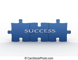 quebra-cabeça, conceito, -, sucesso